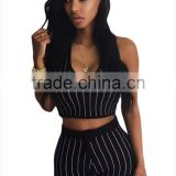 The new fashion ladies sportswear stripe sleeveless crop top hoodies sexy fancy bra panty set for women