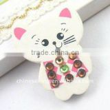 funny wooden cat brooch for kids children's cartoon brooch lovely costume wood jewelry for children