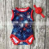 new arrival baby girls Summer clothing infant romper tutu cotton baby firework romper girls romper with match headband