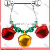 beautiful Handcrafted Crystal Holiday Jingle Bell Nipple Ring MADE WITH barbell body piercing jewelry rings