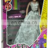 DIY painting fashion dressing up Bobby doll toys for kids with color markers