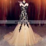 Elegant Appliqued High Collar Mermaid Prom Dresses 2016 Top Selling Open Back Tulle Sweep Train Evening Dress Vestido De Noiva