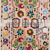 Suzani Design Pattern Kantha Quilt Rajasthani Ralli Gudari Twin Textile Coverlet Bedspread Throw Indian