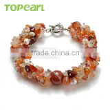 Topearl Jewelry Fashion Round Red Agate Bracelets White Pearls Women Bracelets 8 Inch BJ447373