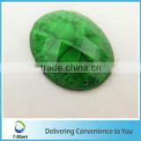 flashing green oval pattern resin rhinestone for clothes
