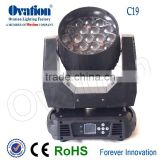 C19 moving head zoom light 360W RGBW 4IN1 Leds adjusted beam angle:8-60 degree DMX 512 Stand alone/Master/Slave/Auto
