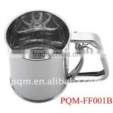 Durability passing FDA 9.7* 12.8cm manual stainless steel flour sifter with 3 lays meshes 001B