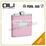 Free Engraving Personalized 6oz silver/Pink Beaded Hip Flask