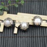 LFD-003B ~ DIY Druzy Round Shape Pearl Pave Rhinestone Connectors Spacer Beads Jewelry Making
