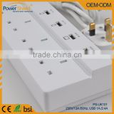 UK 3pin 4Way 4Gang 4 USB output Power Strip Extension Socket Surge Protect 230V 13A for Singapore/UK/South Africa/Ireland/HK