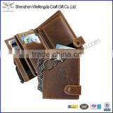 Brown vintage genuine leather biker wallet mens wallet with chain