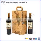 Unique Design Map pattern leather wine box with handle