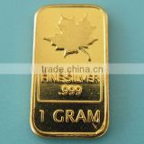 A92 1 Gram 999 Fine Silver Gold Plated Maple Leaf Bar