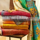 Indian Handmade vIntage Cotton Kantha Quilt Reversible Sari Throw Patchwork Bed Cover Blanket Ralli Gudri Throw