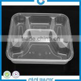 Microwaveable PP black plastic food container, Resuable disposable 4 Compartment Food Container With Lid