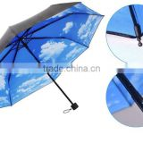 21 Inches Manual Opening 3-Section Blue Sky Umbrella/Fashion Umbrella With Cloud Pattern On Interior Canopy