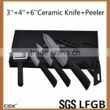 3''4''6'' Black Blade Ceramic Knife Set With EVA GIFT BOX