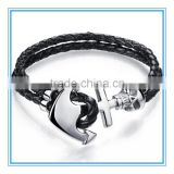 Fashion Jewelry Wholesale!! 2016 NEW Stainless Steel Jewelry Punk Skull Braid Leather Bracelet Anchor Bracelet MoonSo KS2801