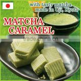 Premium and easy-to-eat Japanese matcha caramel containing natural caffeine for wholesale , bulk packs also available