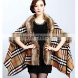 2015 Europe and United States new women's fur shawl cardigan grid cape coat