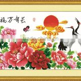 Cross stitch style Birds and flower design home bedroom wall decoration wallpaper
