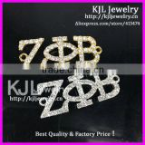 GZKJL-CT0257 Gold and Silver Plated Rhinestone pave Zeta Phi Beta Sideways jewelry Greek Letter bracelet Connector