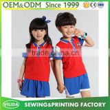 Good quality kindergarten uniform fashion primary school uniform red polo shirt and bule shorts or skirt