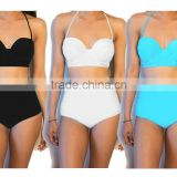 Women's Vintage High Waisted Bikini Set Neon Color Swimwear Swimsuit 6 - 16