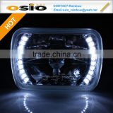BMC Semi Sealed Beam with white LED Halo Ring Auto Halogen sealed beam H4 or HID H4 Xenon Bulb