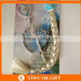 Frozen Elsa Anna Cosplay Costume Accessories Girls Tiara Crown+Braid Wig+Magic Wand Set