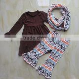 boutique baby halloween clothes dress/pumpkin ruffle pants and neckerchief/scarf cheap china wholesale clothing