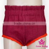 Soft Infant Cotton Clothes Plain Red Color Lace Newborn Baby 1-2 Years Beach Shorts Tripp Pants