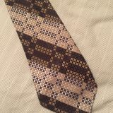 Brown Classic Strips Mens Jacquard Neckties Skinny Self-fabric