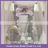 BCK113 elegant design with flowers white silk drapes and curtains