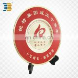 chinese direct sell gold custom metal souvenir plate with wood base