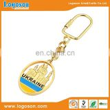 Cheapest Ukraine souvenir promotional metal keychain free samples with customized Logo