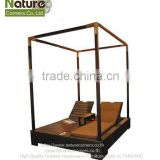 Outdoor Poolside Rattan Double Sun Lounger with Canopy