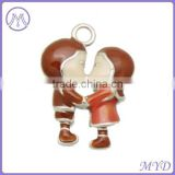 boy and girl charm with different enamel color