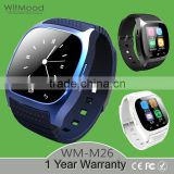 Blue M26 Bluetooth Smart Wrist Watch Phone Mate For IOS Android Samsung LG M26 Smartwatch Brand New Wearable Devices