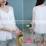 Ladies hollow out half sleeve v-neck shirt linen stitching white lace blouse for girl in summer