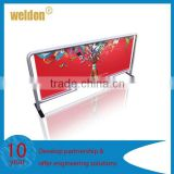 Custom screen printing banner used steel beams