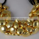 AAA Beautiful Natural 24k Gold Plated Copper Rondelle Round Shape Beads Finding Beads 7 inch 12mm Matte Finish Beads