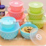 2016 Hot Sale Plastic Mixing Bowls/Good design Salad bowls with lids/Microwave safe Bento lunch box/ Food containers