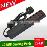 quality products multi electrical extension socket,10 port usb charger with switch button