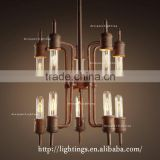 Antique Edison Bulb Hanging Lights RH country retro restaurant pendant stair steam pipe villas ten head pendant light