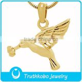 Peace dove with flower cremation pendant bird ash cramation pendant jewelry in stainless steel and gold-plated jewelry                                                                                                         Supplier's Choice