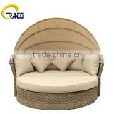 Rattan round sun lounger outdoor furniture canopy daybed swing