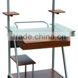 2014 Hot sell computer desk PC table office furniture made of black white glass