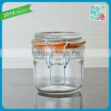 2015 China hot-sale glass jar glass Jar with metal buckle whole-sale metal buckle for Food