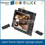 "7""open frame lcd monitor with sd card, frameless built in media player widescreen tft lcd monitor, flush mount mini lcd player"
